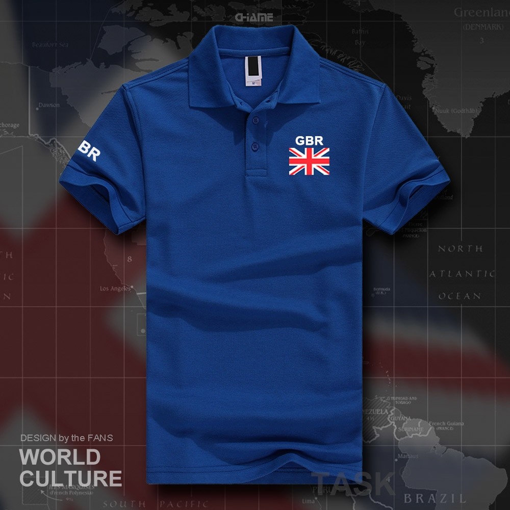 UK United Kingdom of Great Britain polo shirts men short sleeve white brands printed for country 2017 cotton nation team flag