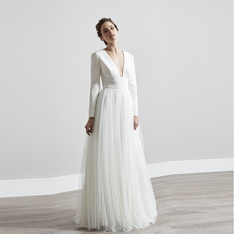 Verngo Simple A-line Wedding Dress Open Back Wedding Gowns Vintage Long Sleeve Bride Dress свадебное платье 2019