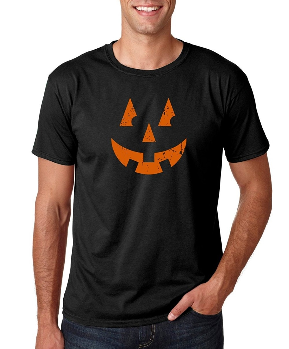 2018 Streetwear camisetas de manga corta divertida Jack o lateral cara-disfraz de Halloween Idea Premium camiseta de hip-hop para hombre camisetas