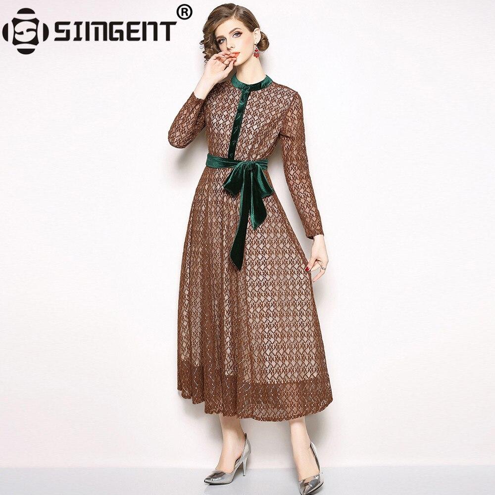 Simgent Otoño Invierno mujer Vintage elegante manga larga Stand Collar botón vestido De encaje mangas Jurken Vestidos De Corea SG810182