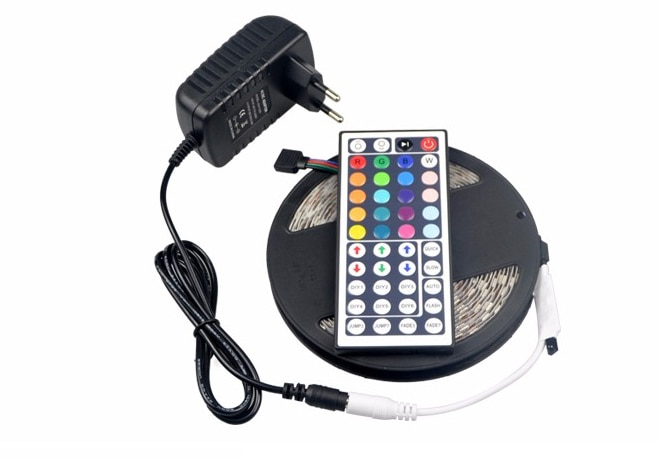 5 M RGB DC12V 60 LEDs/M 5050 SMD LED luz de Tira/3A DC 12 V Power Adapter/44 Teclas do Controlador Remoto da lâmpada fita Lampada