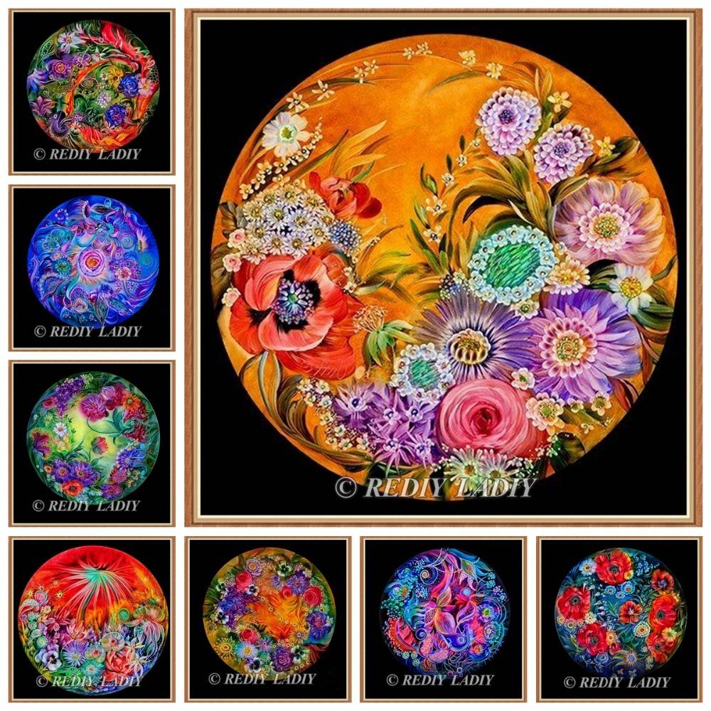 NeoImage  REDIY LADIY Diamond Painting Cross Stitch Poppy Flowers Full Rhinestones Needlework 5D Diamond Embroidery Crystal Mosa