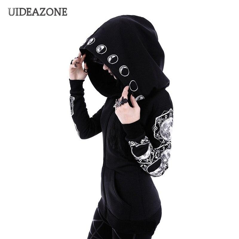 Gótico preto punk feminino hoodies lua impressão manga longa jaqueta com zíper casaco casual com capuz goth com capuz senhoras sweatshirts mais tamanho