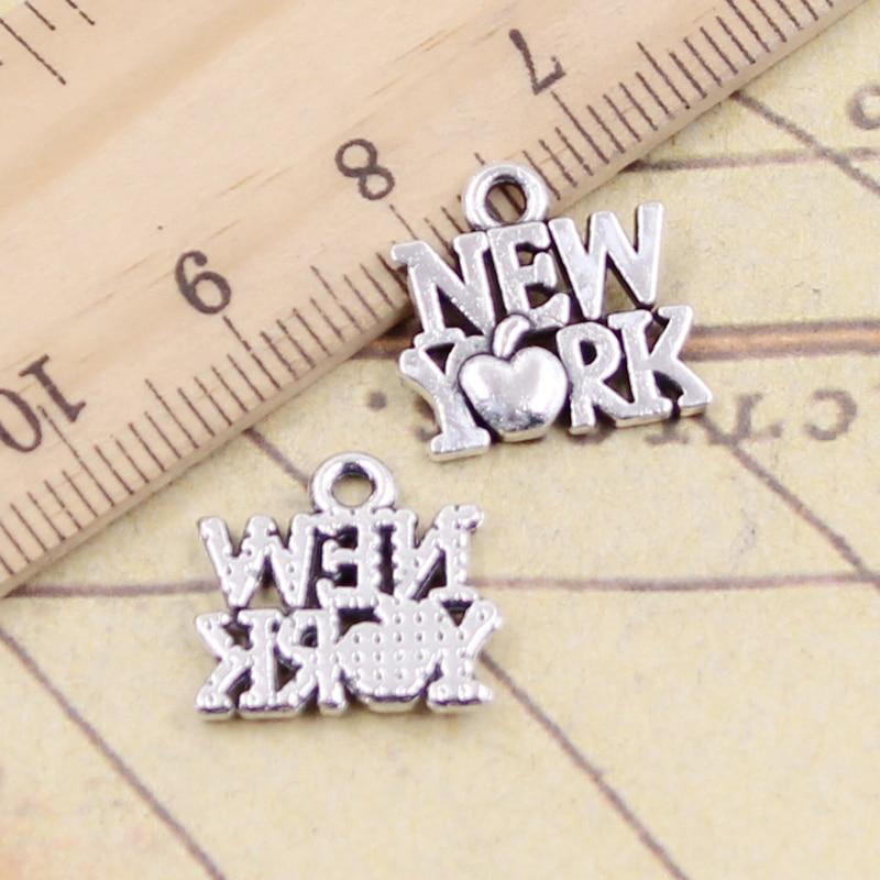 10pcs Charms Heart New York 14x14mm Tibetan Silver Color Pendants Antique Jewelry Making DIY Handmade Craft