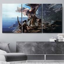 Modular Wall Artwork Canvas Paintings Pictures 3 Panel Monster Hunter Game Prints Poster Home Decor For Living Room Framework