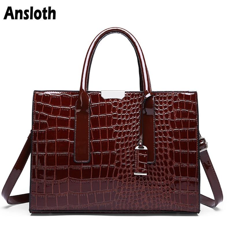 Ansloth Luxury Women's Bag Fashion Top-handle Bags Crocodile Pattern Patent Leather Handbags Classic Women Shoulder Bag HPS361
