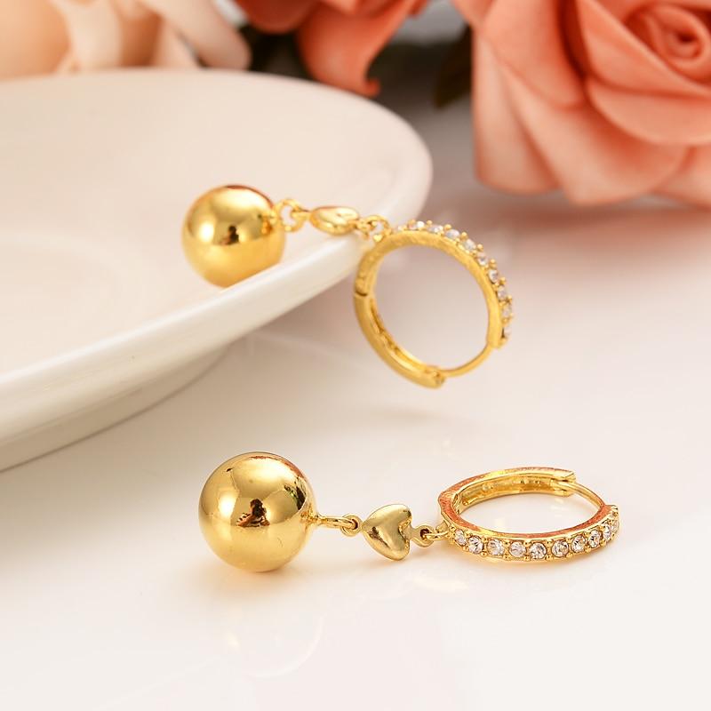 Dubai India África brinco de ouro grande brinco de diamante bola de ouro jóias presente de noivado do casamento do amor menina