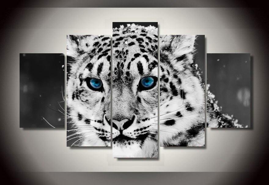 5 piezas HD lienzo pintura estampado Animal nieve leopardo negro blanco Modular para dormitorio decorativo moderno sala de estar pared para el hogar ar
