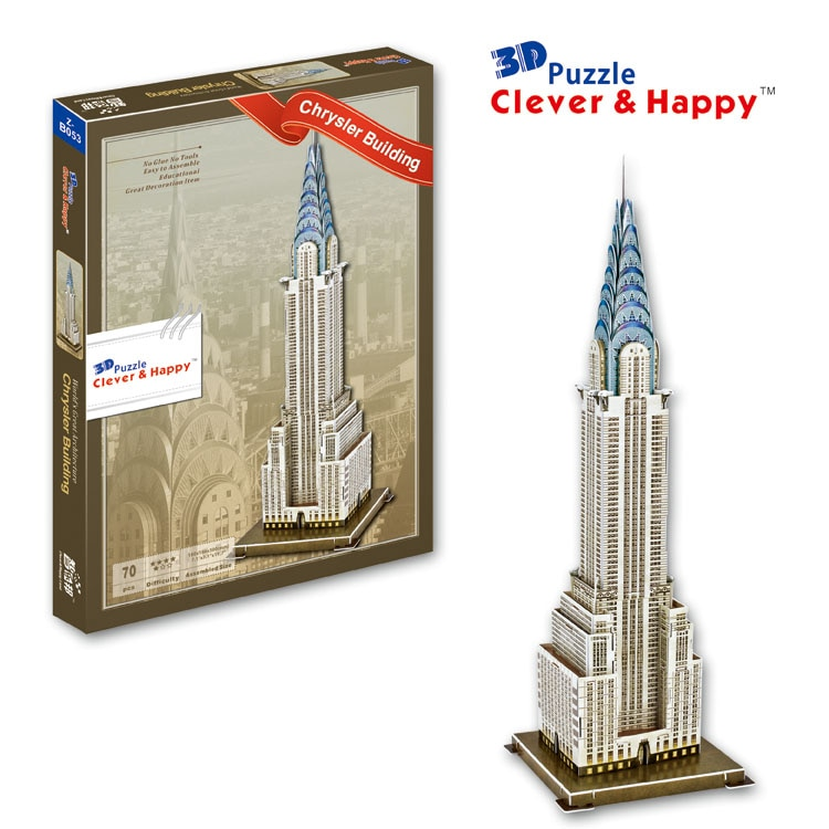 Candice guo brinquedo de montar modelo de papel 3d puzzle diy chrysler edifício EUA New York edifício presente de natal presente de aniversário do miúdo 1 pc