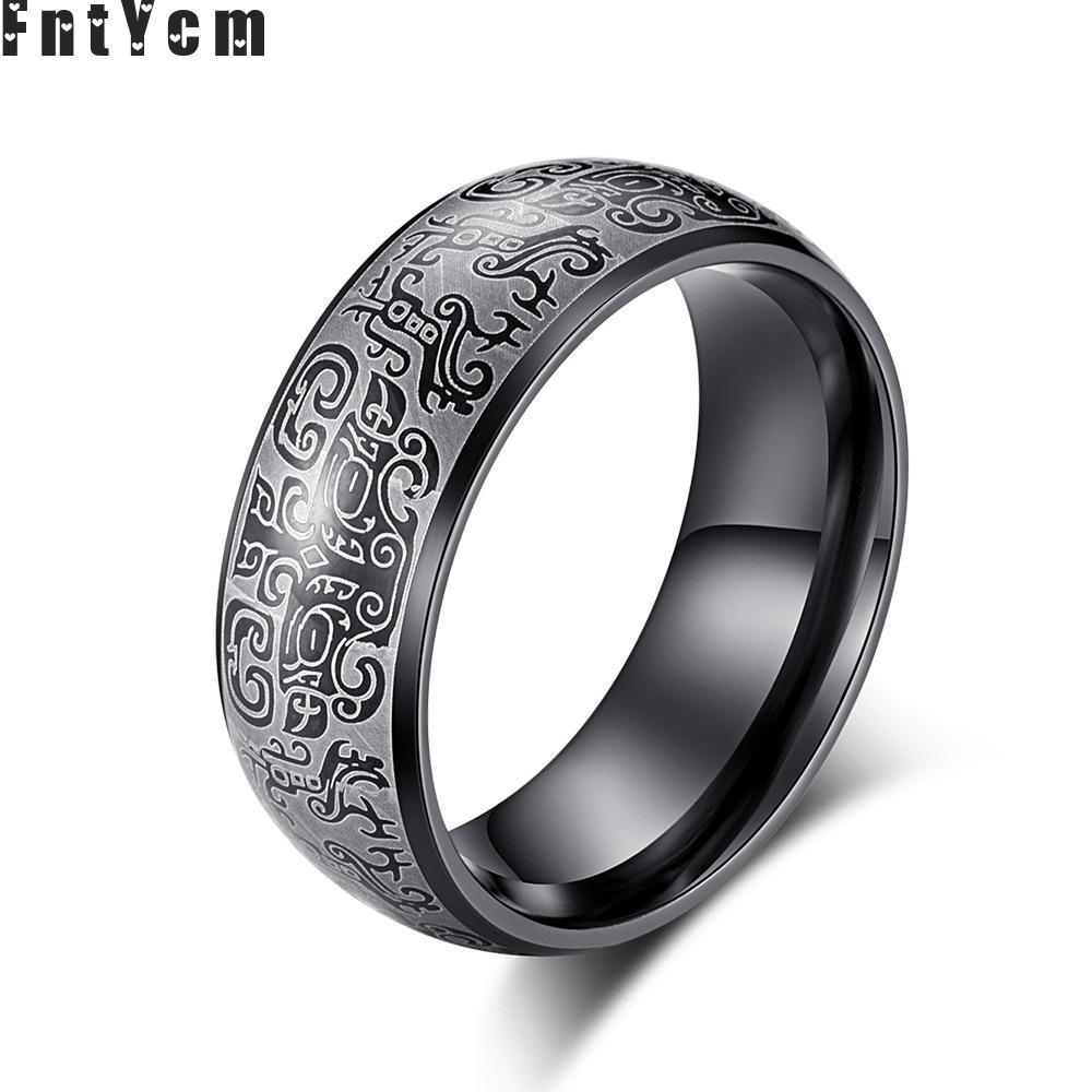 8MM Dragon White Tiger Suzaku Basalt Gluttony God Beast Lucky Good Luck Ring For Mens Stainless Steel Gold Blue Black Roar Rings