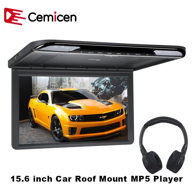 Cemento 15,6 pulgadas HDMI 1920x1080 FULL HD coche techo montaje Flip Down TV pantalla Digital Monitor MP5 reproductor con USB /SD/IR/FM/altavoz