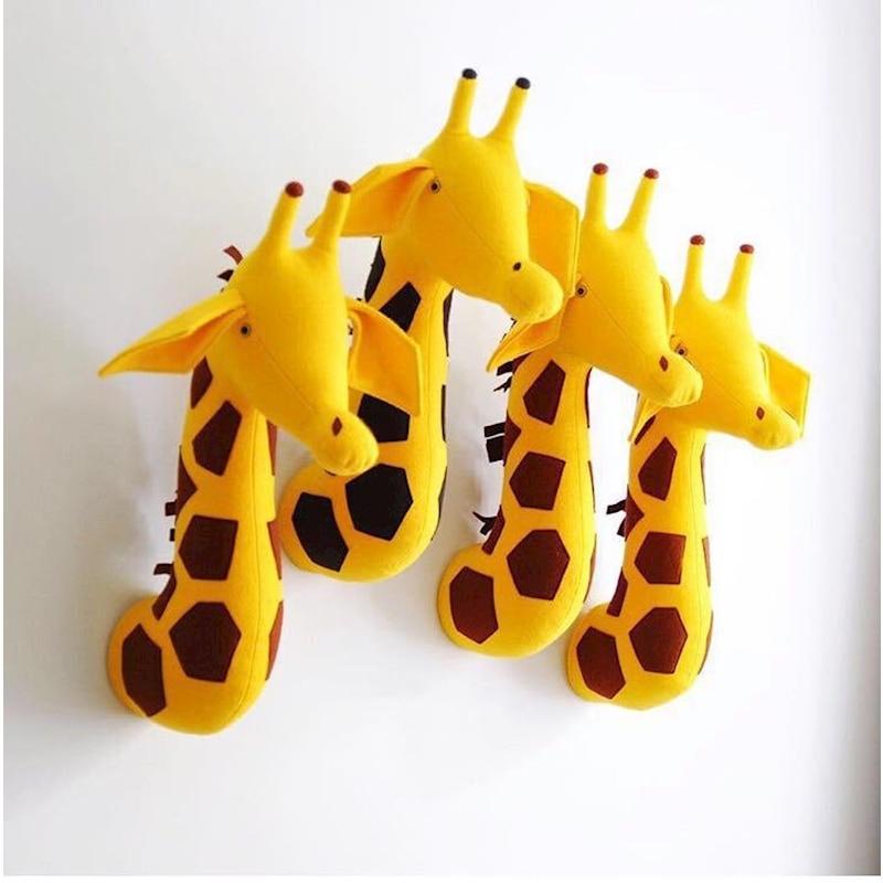MYUDI 2019 Plush Wall Stuffed Toys Animal Giraffe Zebra Elephant Head Cute Baby room Wall Decoration Kindergarten Decor Toy Doll