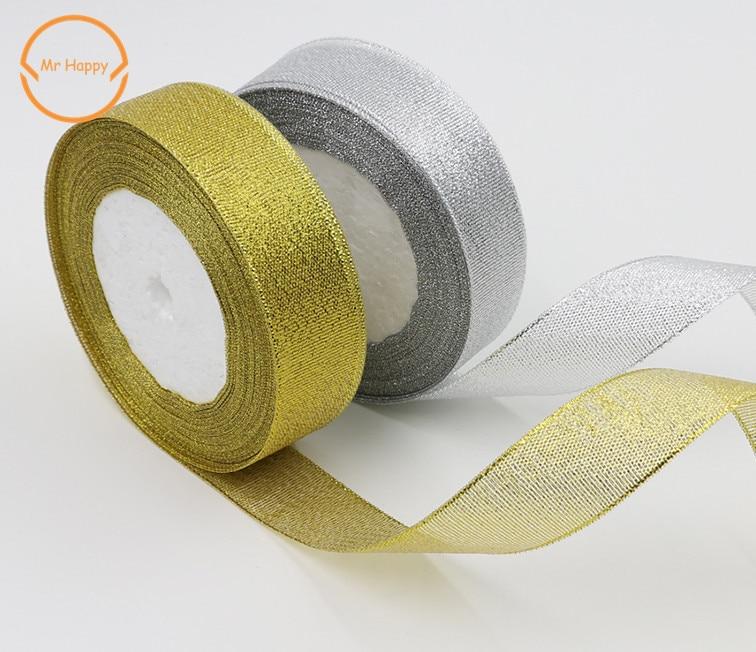 Alta calidad 5/8 3/4 (20mm) 1 (25mm) 1-1/2 (40mm organza brillo de oro plata cinta para la decoración del lazo artesanal de la boda