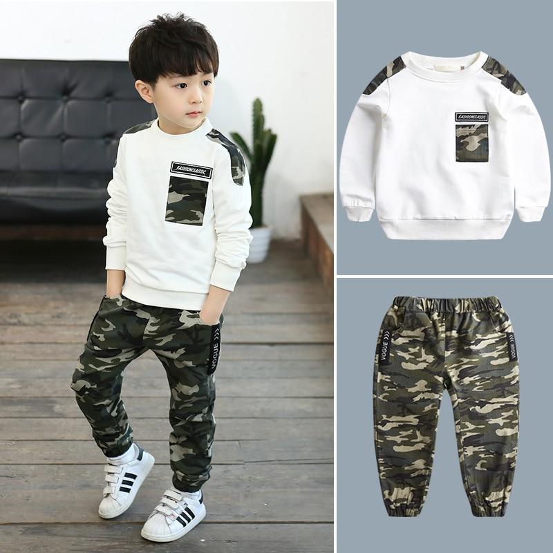 2019 Spring Autumn Boys Clothing Set Fashion Toddler Kids Baby Boy clothes T shirt Tops+Camouflage Pants 2PCS Children clothing