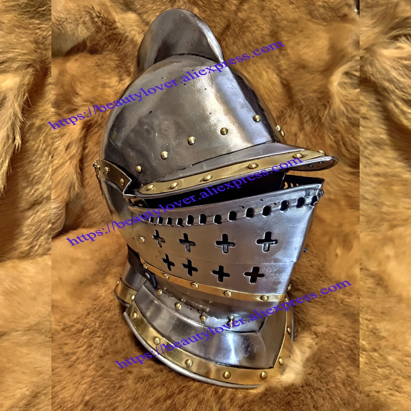 Medieval knight helmet Hallowen cosplay mask 15th Century European Gothic Helmet Long-tailed Charler Burgundy military helmets