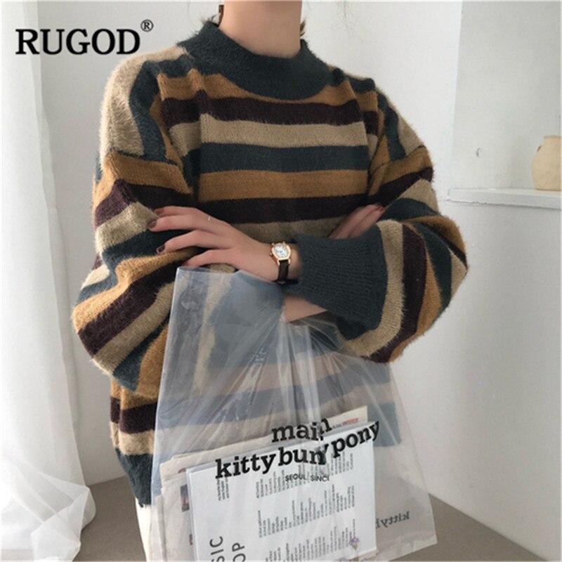 RUGOD 2019 Otoño Invierno mujeres cuello redondo suéter de manga larga señoras Patchwork pulóveres pull femme hiver