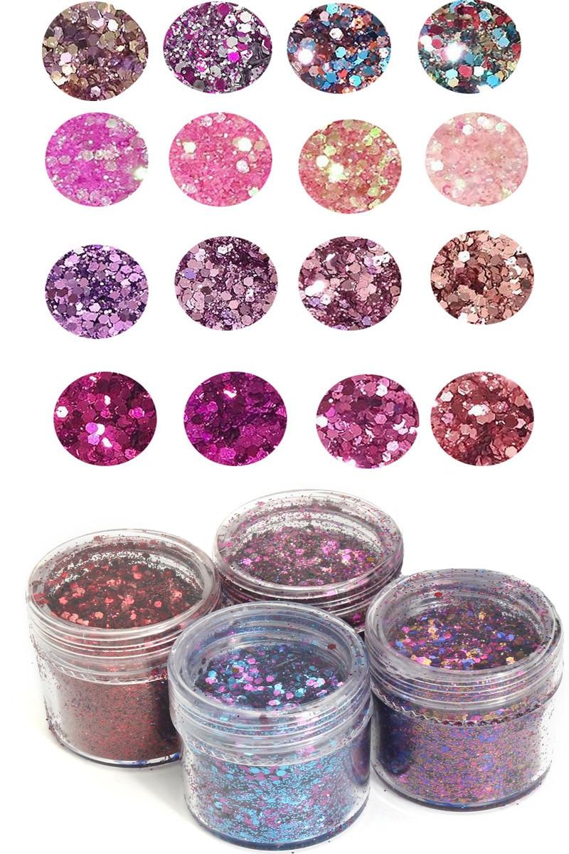 4 Boxes 10ml  Chunky Glitter Mix, CUSTOM GLITTER MIX Custom Glitter Sequin 0.2-2mm Glitter Nail Art