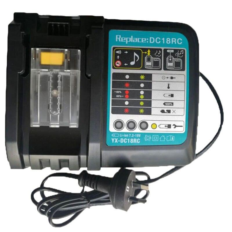 Литий-ионный аккумулятор зарядное устройство 3A зарядный ток для Makita 14,4 V 18V Bl1830 Bl1430 Dc18Rc Dc18Ra Электроинструмент Dc18Rct зарядка штепсельная вилка европейского стандарта