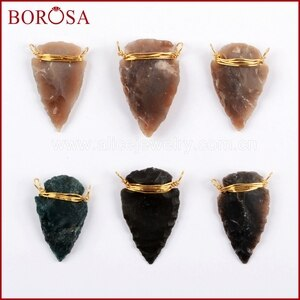 BOROSA 10/20PCS Gold Wire Wrapped Natural Jaspers Arrowhead Connector Natural Stone Double Charms Jewelry for Necklace G1645