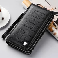 new simple fashion long design genuine cow leather wallet casual man phone wallets luxury high capacity wallet blackbrown