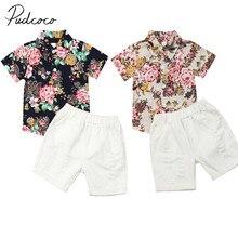 Vêtements dété pour bébés de 0 à 5 ans, ensemble en coton, motif Floral, pour la plage, T-Shirt court et pantalon, collection 2019