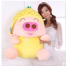 Stuffed animal 80cm pig plush toy McDull pig pineapple hat design doll throw pillow gift w3553