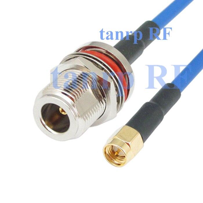 10 piezas 15 CM coax Flexible chaqueta azul puente cable RG402 6 pulgadas N Hembra jack con tuerca conector adaptador SMA macho RF