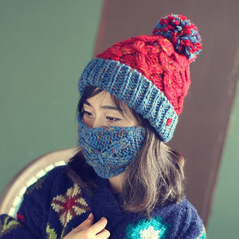 BomHCS Moda Grosso Quente Artesanal Gorro de Inverno com Máscara Knit Hat Caps