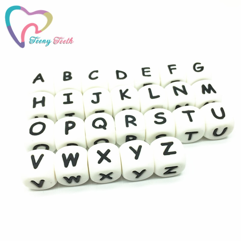 Get Teeny Teeth 1500 PCS Wholesale BPA Free Silicone Beads English Alphabet Food Grade Silicone Letter Cube DIY Jewelry Loose Beads