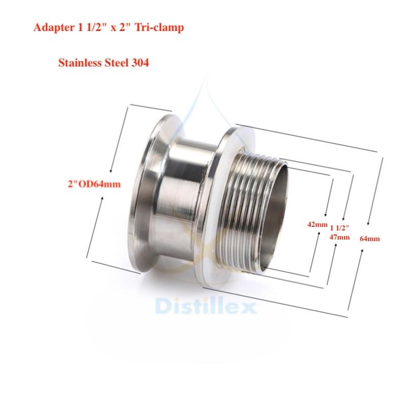"""Adaptador 2 """"od64mm x 1 1/2"""". Aço inoxidável 304. Comprimento 50mm"""