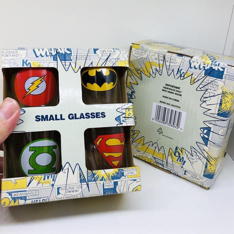 4pcs Super Hero Flash and Bat manSuite Glass Mini Wine Cup Beer Red Wine Liquor Cup