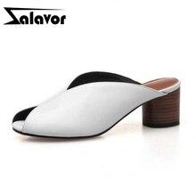 RAZAMAZA rétro femmes sandales en cuir véritable chaussures dété femmes à talons hauts pantoufles mode ronde bout ouvert sandales taille 34-39