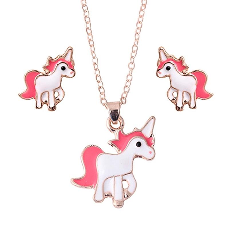 Gran oferta Rosa juego de bisutería con animales de la cadena de joyería de los niños caballo de dibujos animados collar con unicornio pendientes conjuntos de joyas para los mejores regalos para chicas