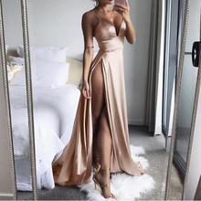 KANCOOLD robe haute-fente Maxi Sexy femmes solide soirée robes de soirée Clubwear longue robe sans manches femmes 2018jul31