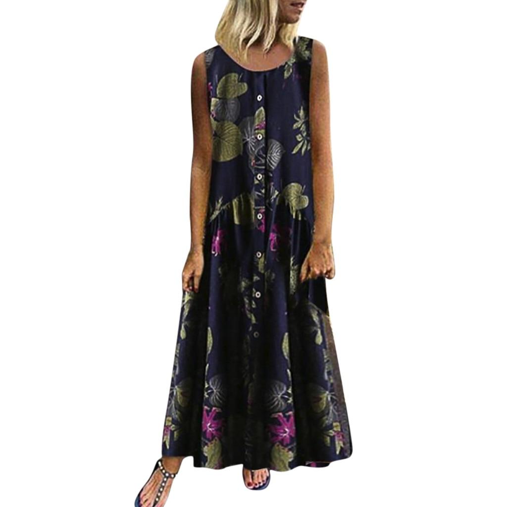Summer Beach Dress Women Plus Size Bohe O-Neck Floral Print Vintage Sleeveless Long Dress New Casual Ankle-Length Dress #New