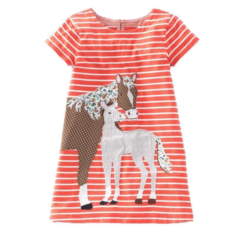 Платье для маленьких девочек с аппликацией в виде животных, летнее Брендовое платье принцессы, детская одежда, Детские платья из 100% хлопка, 2018