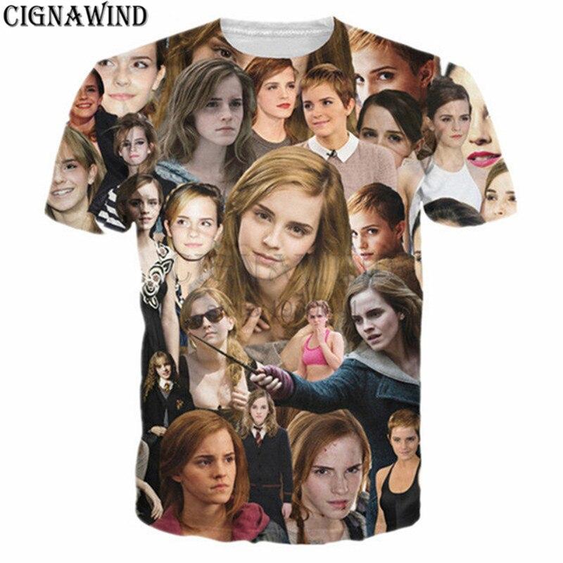 Neue casual lustige t shirts Emma Watson Paparazzi 3D gedruckt t hemd Männer Frauen sommer top hip hop männer t-shirts streetwear tops tees