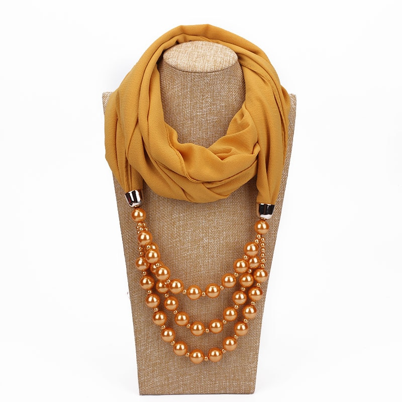 2019 New Women Hijab Soft Solid Chiffon Pendant Jewelry Scarf Wraps Pearl Mujer Necklaces Bufanda Lady Female Elegant Foulard