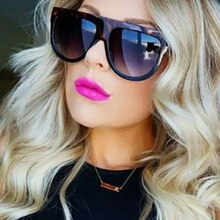 Oversize Sunglasses Women Brand Shades Men Retro Flat Top Cat eye Glasses Sunglass Female Oculos de