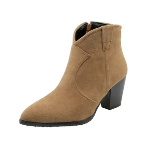 2019 Women Boots Flock Sqaure High Heel Ankle Boots Fashion Pointed Toe Zipper Western Boots Autumn Winter Short Boots