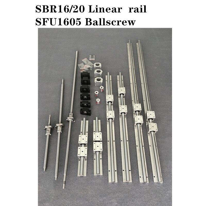 2 مجموعة SBR16 -800 مللي متر/2 مجموعة SBR20 -700 مللي متر دليل خطي السكك الحديدية + 3 مجموعة SFU1605 - 350/600/750 مللي متر Ballscrew مجموعة + 3 مجموعة BK/BF12 CNC أجزاء