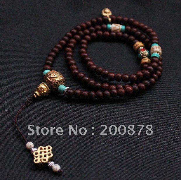 BRO687 Tibetan Red Sandalwood Prayer Mala 8mm Necklace Master Design Tibetan Taste Rosary Bracelet Free Ship