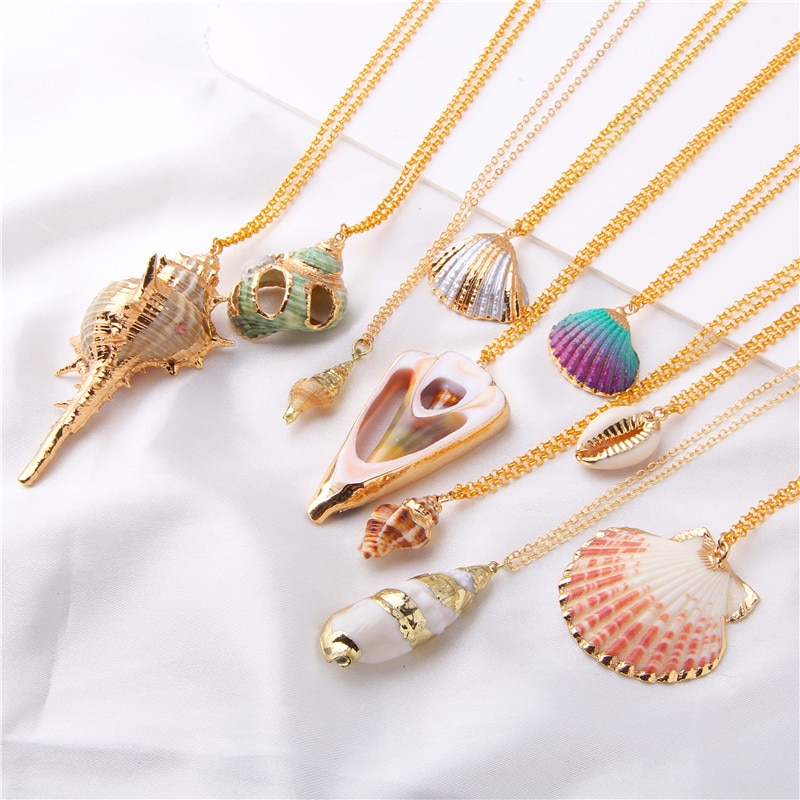 2019 Boho Conch Shell Necklace Shell Gold Shell Chain Necklace Women Seashell Choker Necklace Pendants Jewelry Bohemian Female