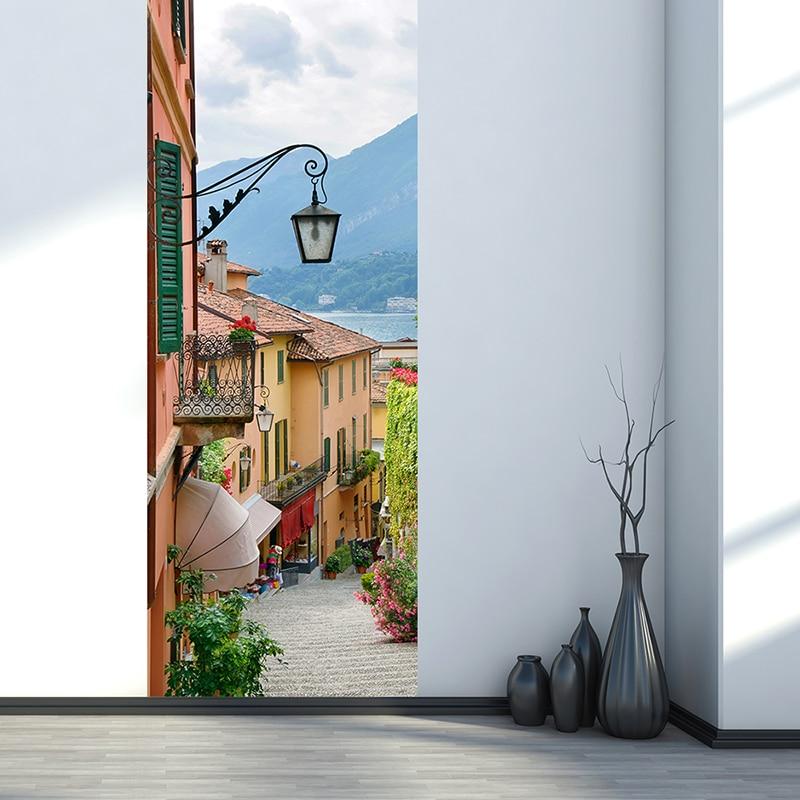 Настенные 3D-обои в европейском стиле для уличного города, современные творческие наклейки для дверей, гостиной, спальни, домашний декор, 3 D