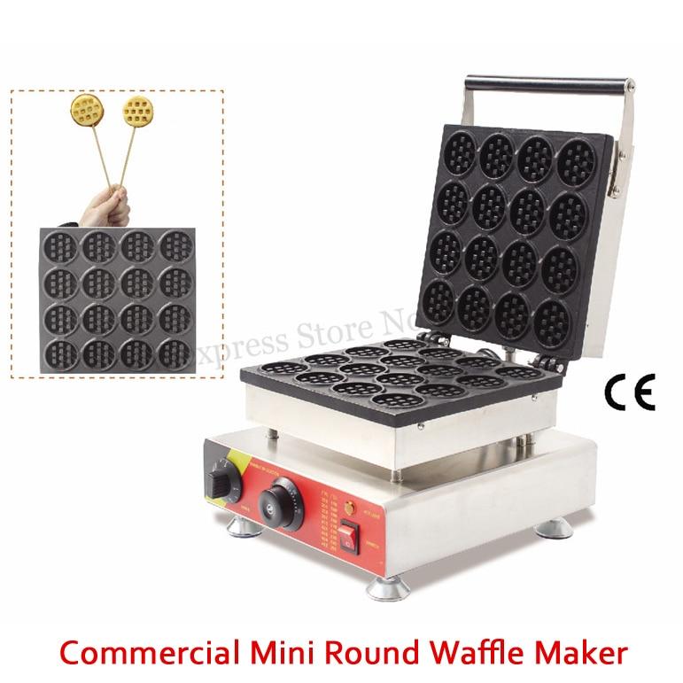 Mini elétrica Máquina de Waffle Antiaderente Pequena Fabricante de Bolo Redondo 52x52mm 16 Moldes 1500 W para Casa Comida rua