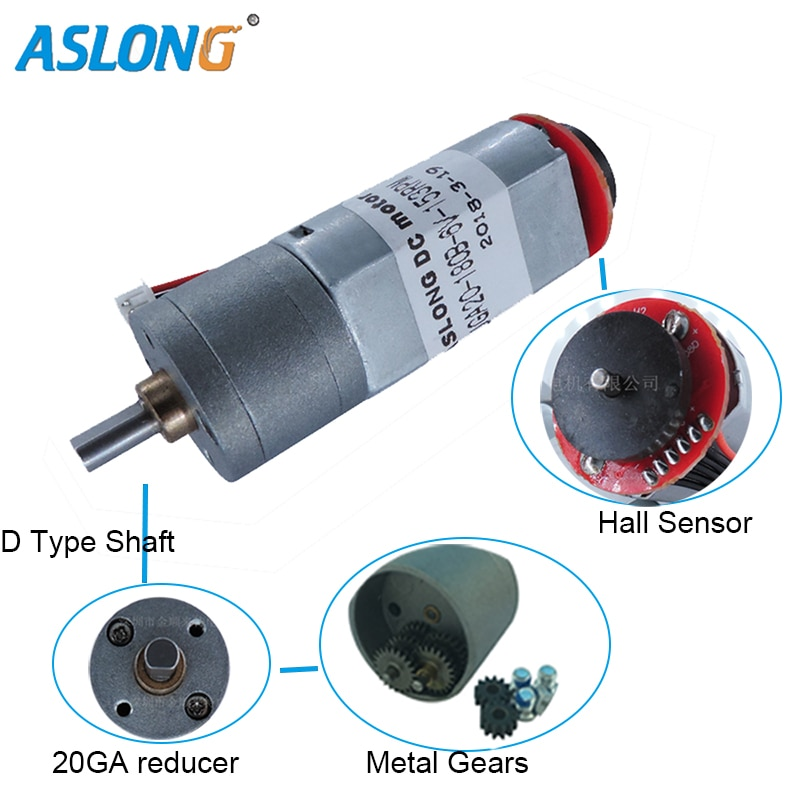 JGA20-180B 12V  Coded Motor DC Deceleration Motor  With Hall sensor Encoder