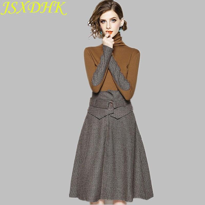 JSXDHK حجم كبير الخريف الشتاء تنورة الدعاوى النساء الياقة المدورة قميص قطني بكم طويل الدعاوى عالية الخصر كبير سوينغ تنورة الدعاوى S-XXXL
