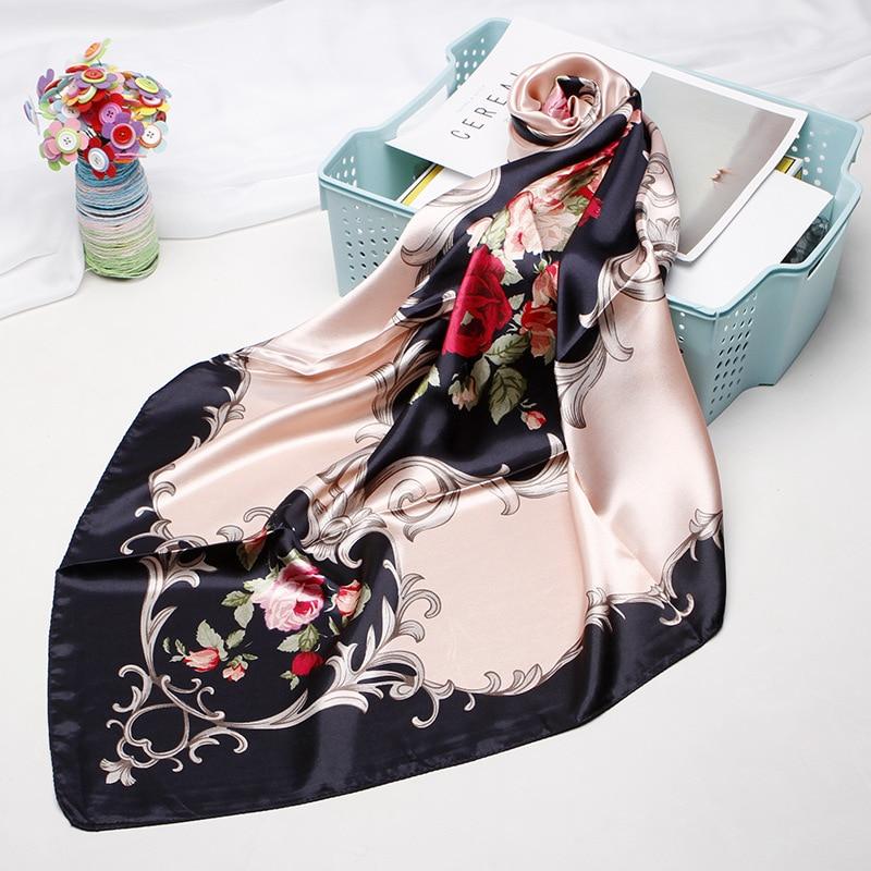 Fashion Floral Print Haar Schal Für Frauen Kopftuch Seide Satin Hijab Schals 90*90cm Platz Schal Stirnband Schals für Damen 2019