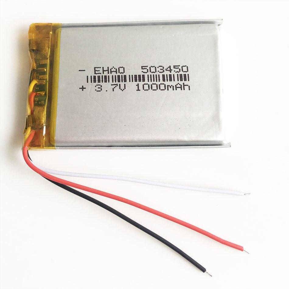 3,7 V 1000mAh 503450 Lithium-Polymer LiPo Akku mit 3 drähte Für Mp3 DVD PAD kamera recorder Lautsprecher PSP 5*34*50