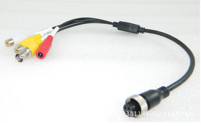 4PIN M12 Aviation connector to RCA + BNC +Power cable, female or male are optional, 10pcs to a lot. enlarge